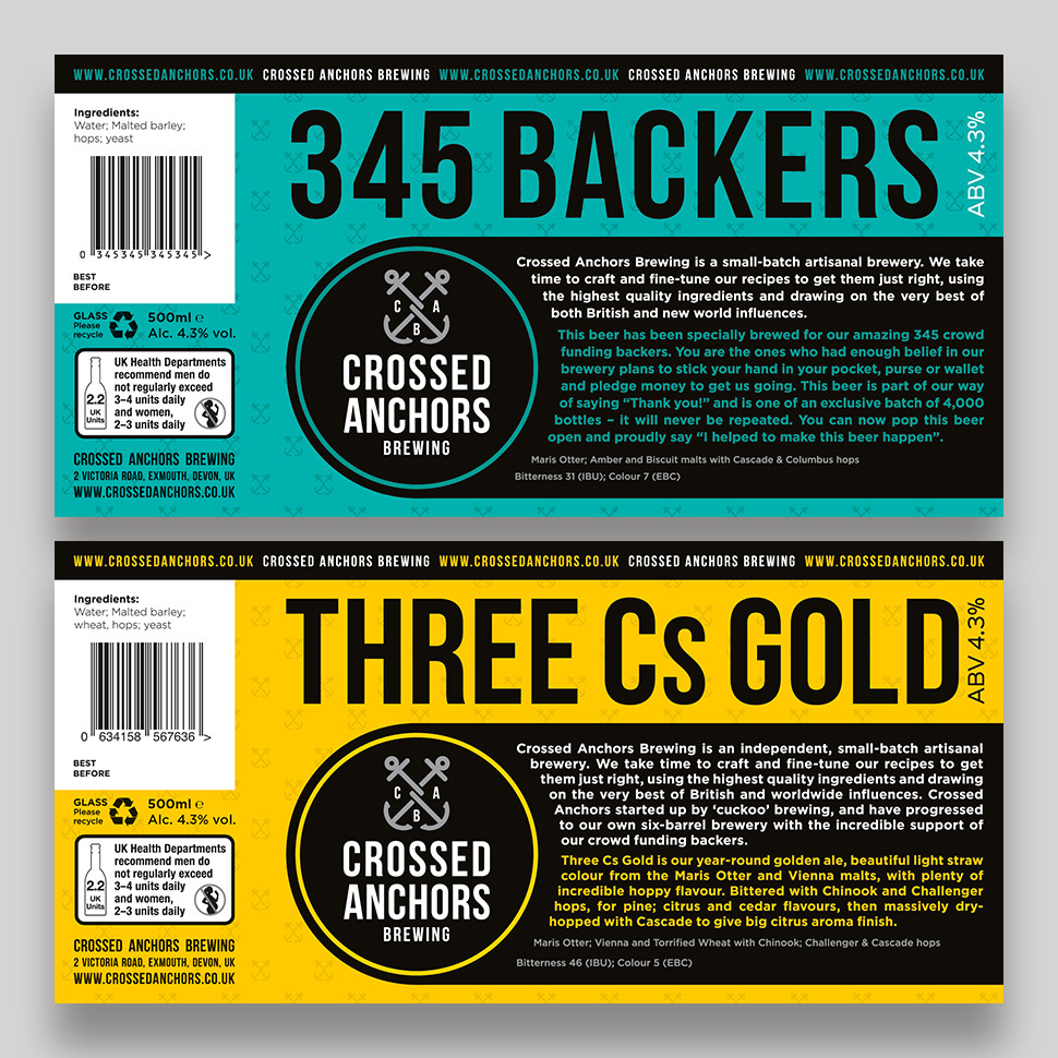 345 Backers and Three Cs Gold Bottle Labels