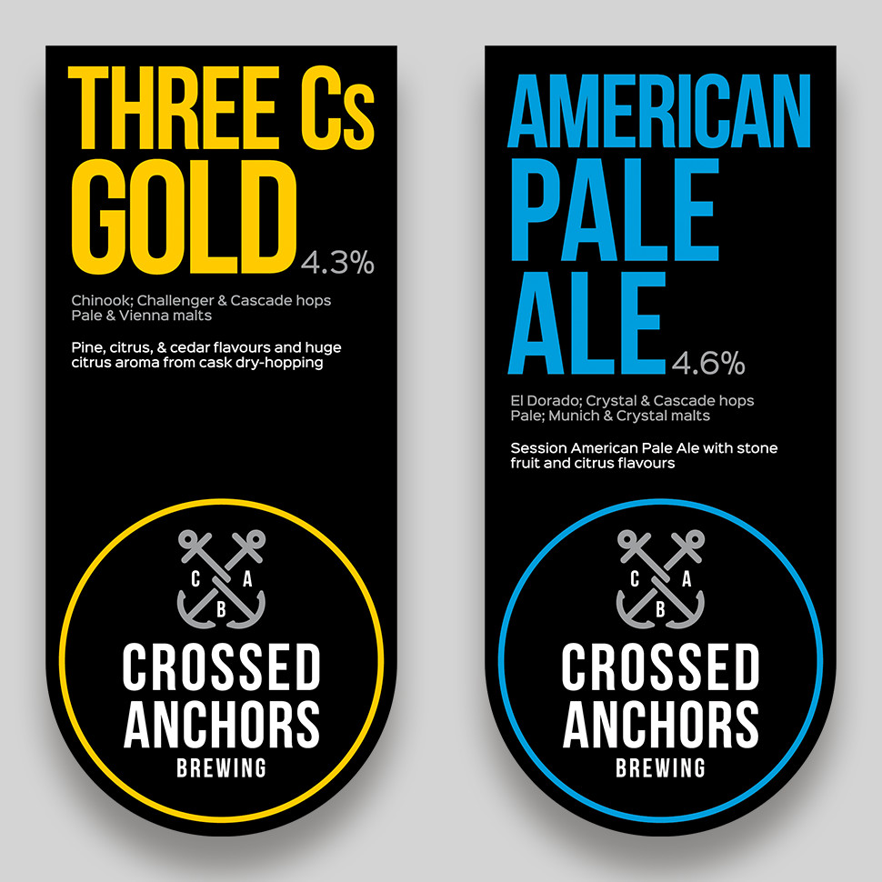 Three Cs Gold and American Pale Ale Pump Clips